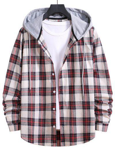 Drawstring Hooded Plaid Print Button Up Shirt - Chestnut Red L