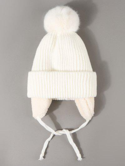 Inner Plush Knitted Ear Warmer Beanie - White