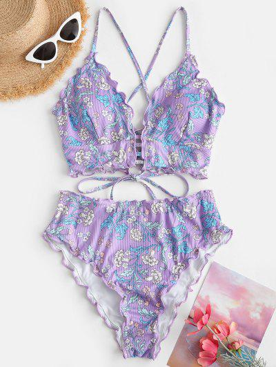 ZAFUL Plant Print Ribbed Lettuce-trim Lace-up Tankini Swimwear - Light Purple M