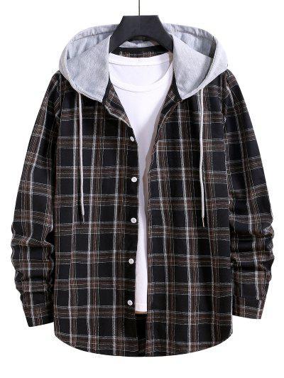 Hooded Plaid Print Button Up Drawstring Shirt - Black S