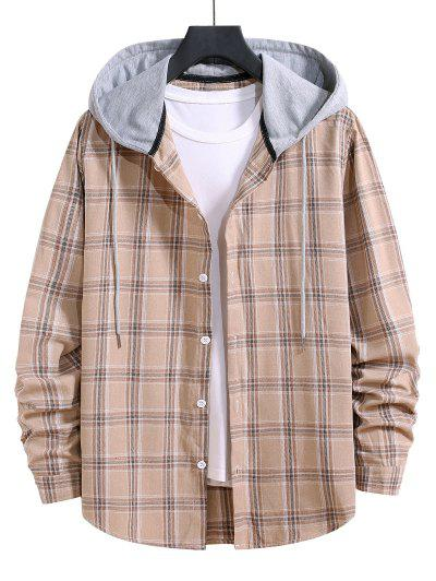 Hooded Plaid Print Button Up Drawstring Shirt - Blanched Almond M
