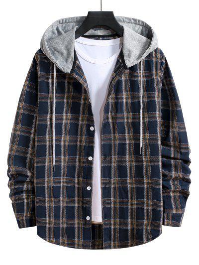 Hooded Plaid Print Button Up Drawstring Shirt - Denim Dark Blue L