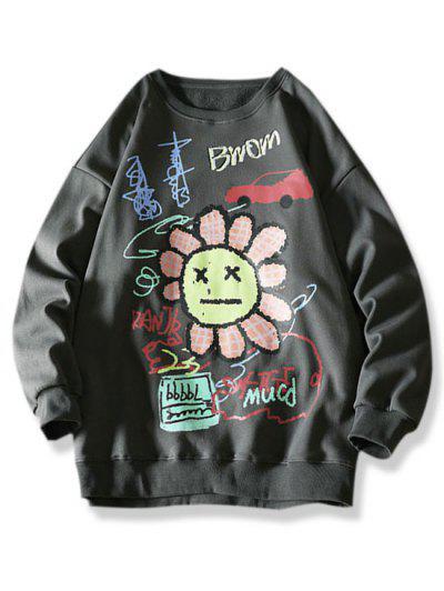 Cartoon Smiling Flower Letter Graphic Sweatshirt - Dark Gray 3xl