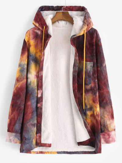 Hooded Tie Dye Pattern Fleece Corduroy Jacket - Red Wine S