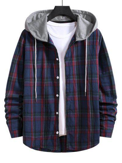 Hooded Plaid Print Drawstring Shirt - Denim Dark Blue M