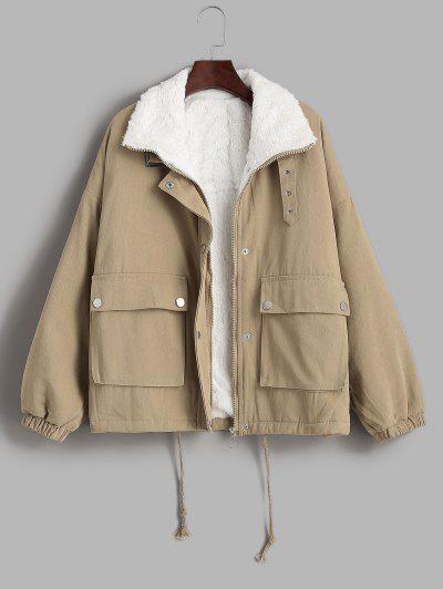 Faux Fur Lined Flap Pocket Drawstring Cargo Coat - Light Coffee L