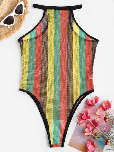 Fishnet Rainbow Striped See Thru One-piece Swimsuit - Black M