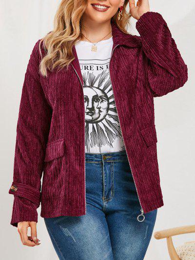 Plus Size Flap Pockets Corduroy Jacket - Red Wine 2x
