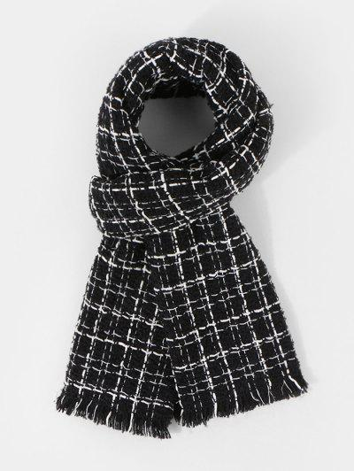 Plaid Pattern Fringe Winter Scarf - Black