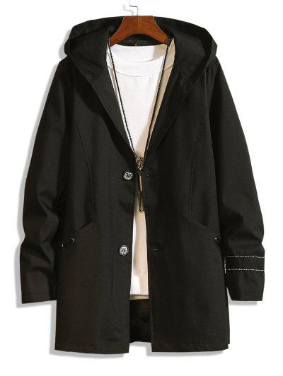 Hooded Single Breasted Double Pockets Trench Coat - Black Xs