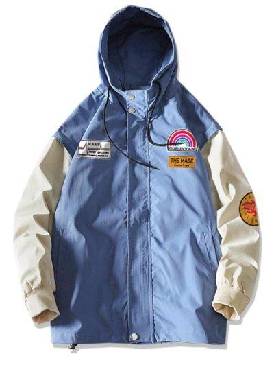 Rainbow Letter Graphic Colorblock Sleeve Hooded Jacket - Denim Blue Xl