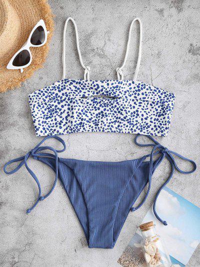 ZAFUL Dalmatian Dot Ribbed Keyhole Tie Tanga Bikini Swimwear - Slate Blue M