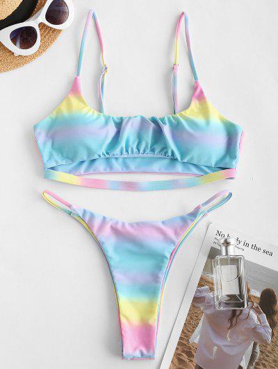 ZAFUL Ombre Rainbow Underboob String Bikini Swimwear - Multi S
