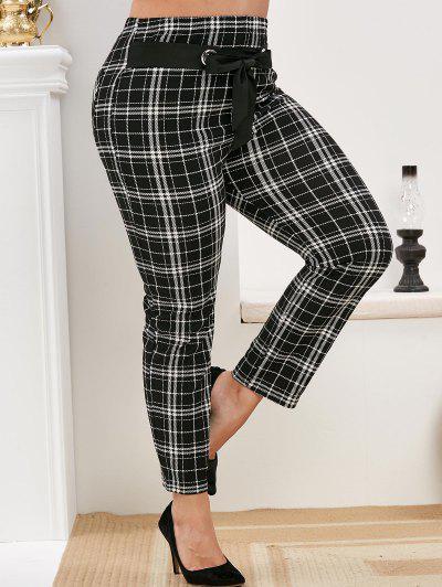 Plus Size Belted Plaid Pants - Black 1x