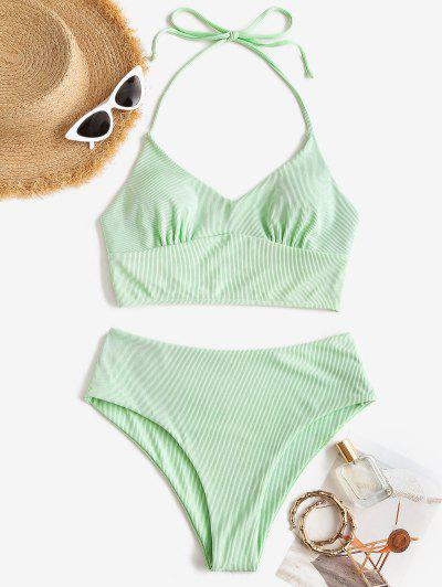 ZAFUL Halter Ribbed Tankini Swimwear - Dark Sea Green M