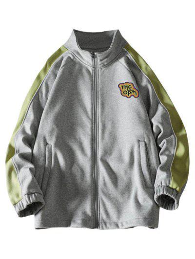 라글란 슬리브 편지 인쇄 ColorBlock 자켓 - 밝은 회색 특대