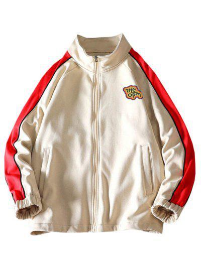 Raglan Sleeve Letter Print Colorblock Jacket - Khaki M