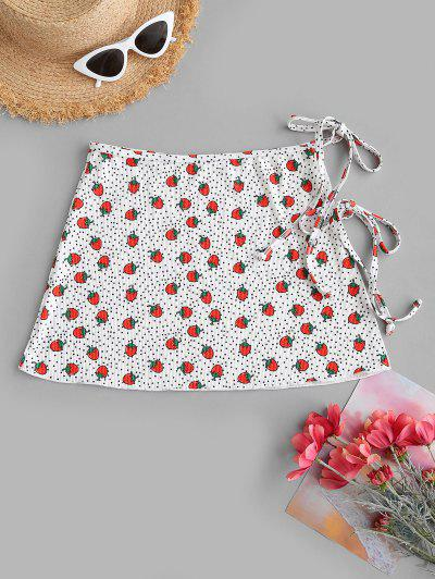 ZAFUL Strawberry Polka Dot Ribbed Wrap Swim Skirt - White S