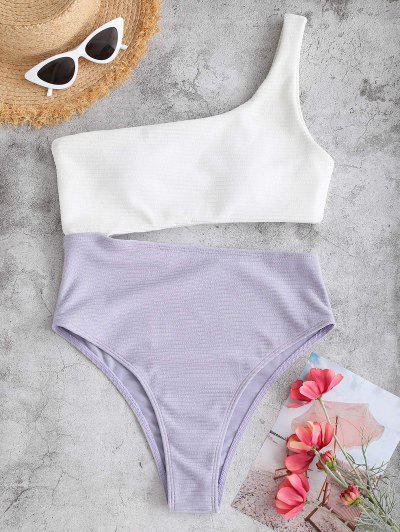ZAFUL One Shoulder Bicolor Textured Rib Cutout One-piece Swimsuit - Light Purple Xl