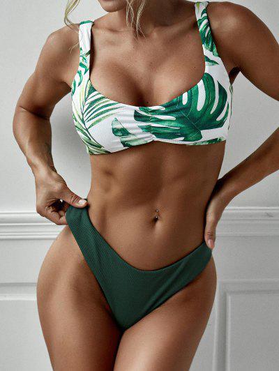 ZAFUL Back Twist Palm Print Bikini Swimwear - Deep Green L