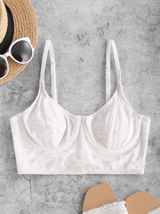 fashion ZAFUL Underwire Velvet Cami Swim Top - WHITE S
