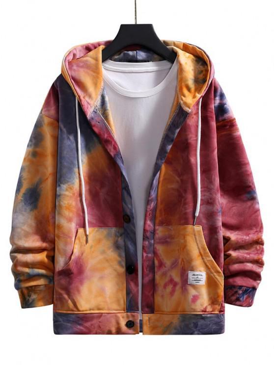 fancy Tie Dye Drop Shoulder Hooded Jacket - RED M