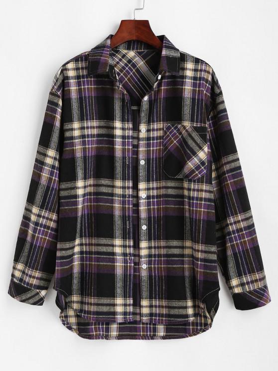 outfits Front Pocket Plaid Tartan Flannel Shirt - BLACK M