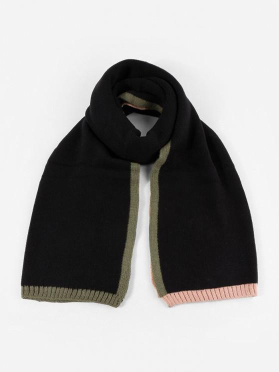 buy Winter Colorblock Knitted Scarf - BLACK