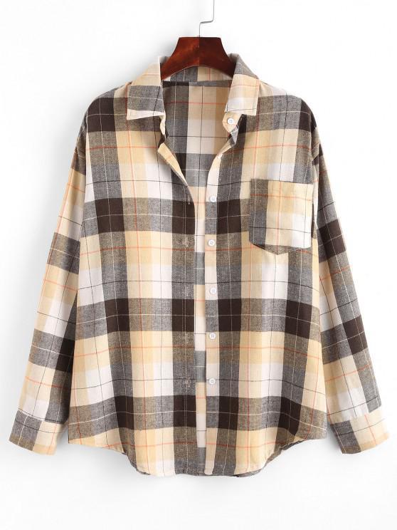Plaid Boyfriend Shirt - القهوة الخفيفة L