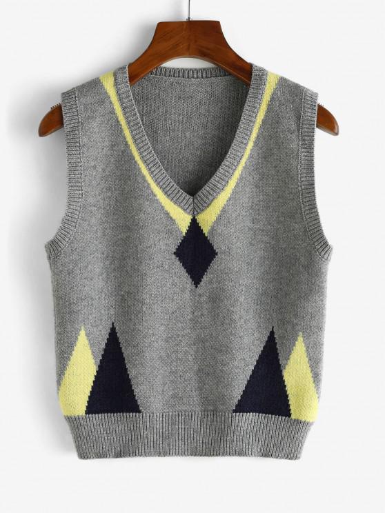 Camisola de Colete Geométrica de Decote V - Ganso Cinzento Um Tamanho