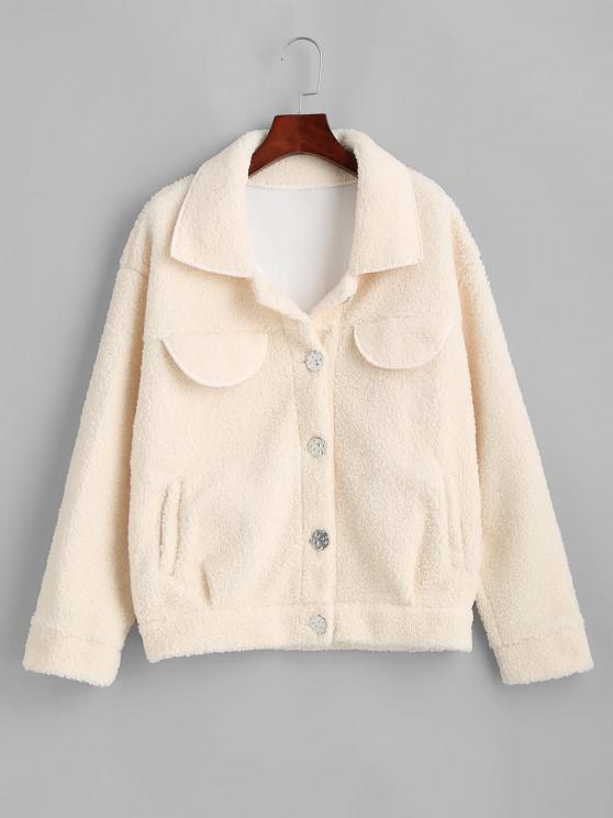 ladies Flap Detail Pocket Teddy Coat - WHITE L