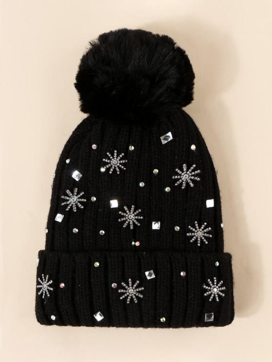 Rhinestone Snowflake Knitted Bubble Hat - ليل