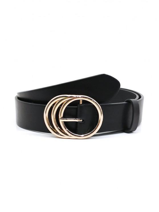 womens Round Pin Buckle Dress Belt - BLACK