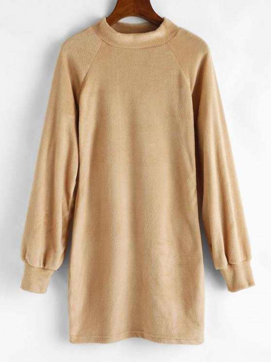 trendy Mock Neck Fuzzy Sheath Dress - LIGHT COFFEE M