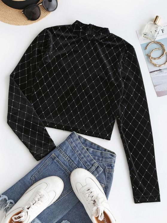 shop Sparkly Rhombus Velvet Crop T Shirt - BLACK L