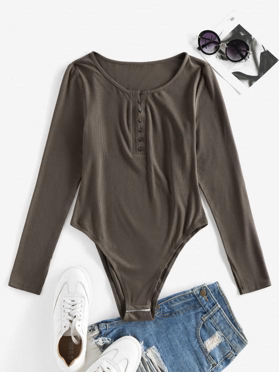 new ZAFUL Ribbed Snap Crotch Henley Tee Bodysuit - OAK BROWN L