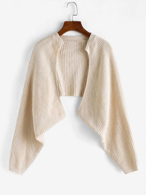 womens Batwing Sleeve Cropped Cardigan - LIGHT COFFEE ONE SIZE