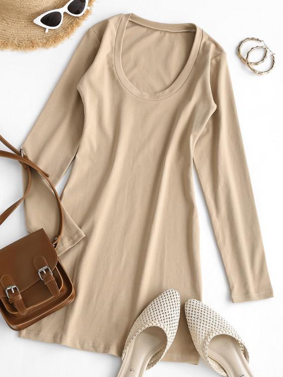 lady Long Sleeve Scoop Neck Mini Sheath Dress - LIGHT COFFEE S