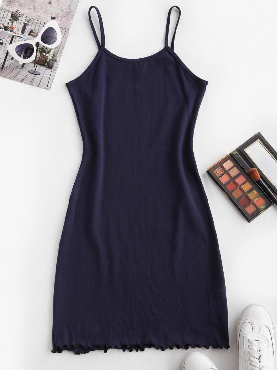 latest Ribbed Cami Slinky Mini Dress - DEEP BLUE M