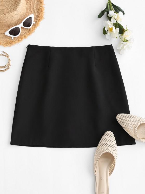 latest Plain Side Zipper Office Mini Skirt - BLACK S