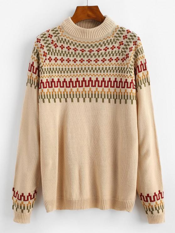chic Raglan Sleeve Mock Neck Geo Sweater - LIGHT COFFEE XL