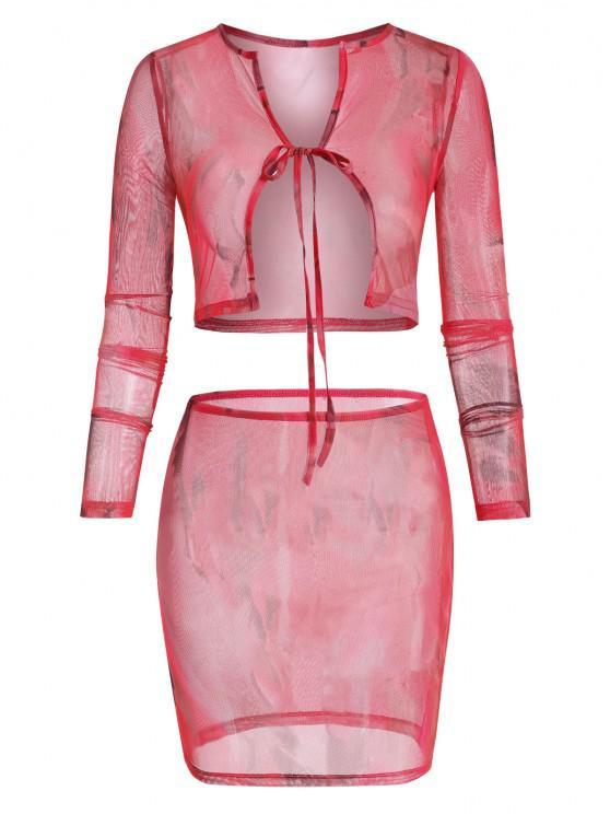 hot Tie Dye Sheer Mesh Tie Front Two Piece Dress - MULTI L