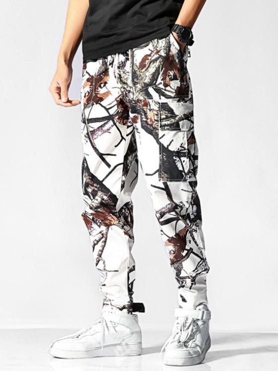 Tree Branch Print Flap Pocket Pants - أبيض 2XL