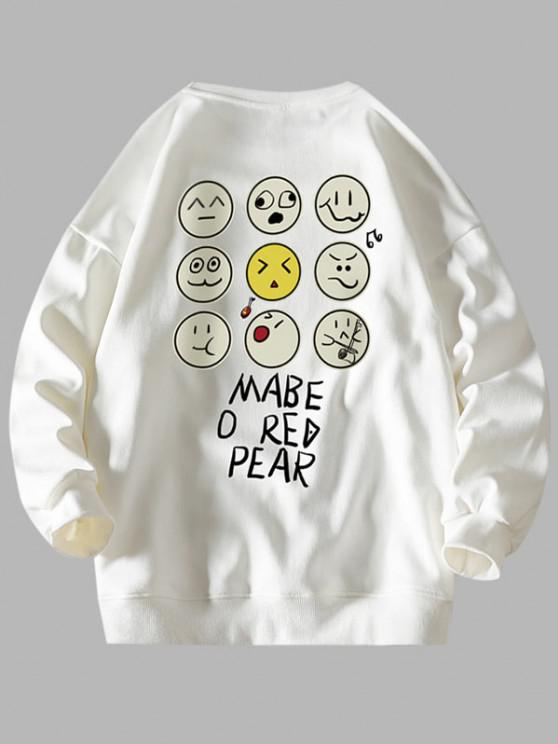 Funny Cartoon Face Letter Print Drop Shoulder Sweatshirt - أبيض L