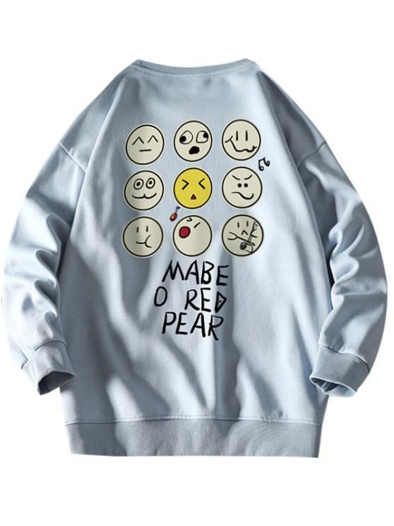 Funny Cartoon Face Letter Print Drop Shoulder Sweatshirt - أزرق فاتح XL