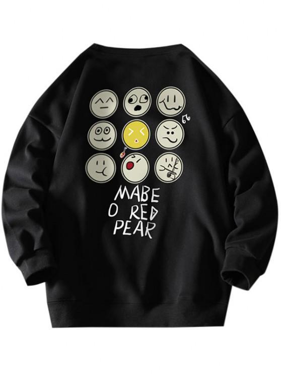 Funny Cartoon Face Letter Print Drop Shoulder Sweatshirt - أسود XL