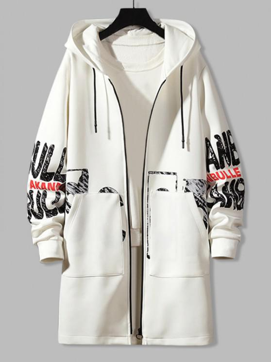 Hooded Double Pockets Letter Print Coat - أبيض XS