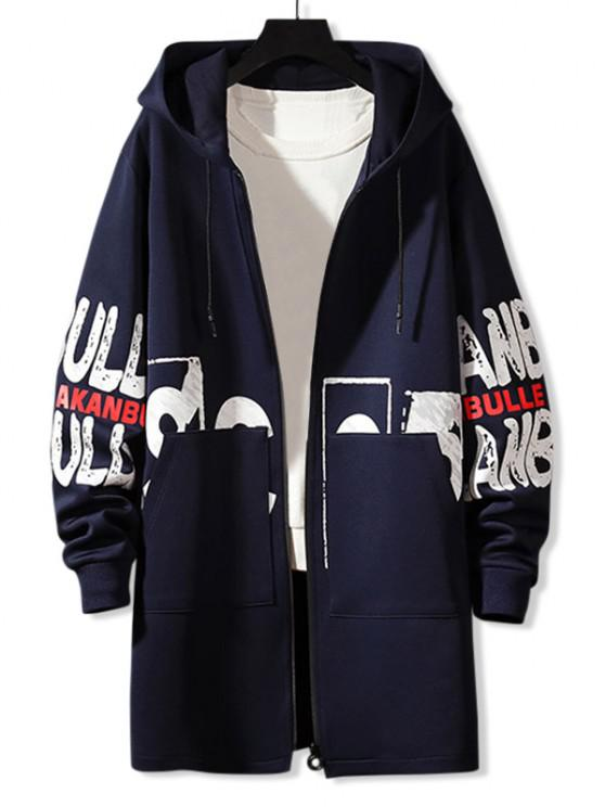 Hooded Double Pockets Letter Print Coat - طالبا الأزرق M