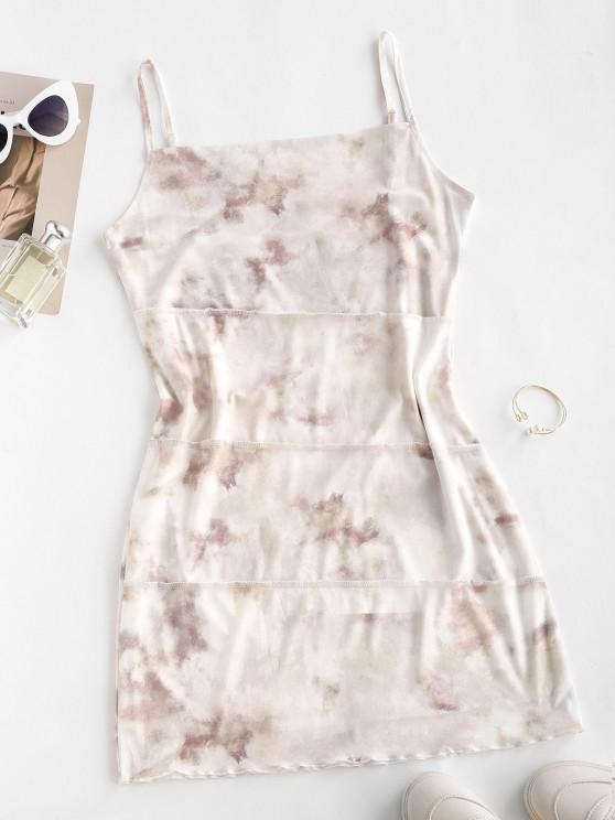 ladies Mesh Insert Tie Dye Exposed Seams Dress - LIGHT COFFEE L