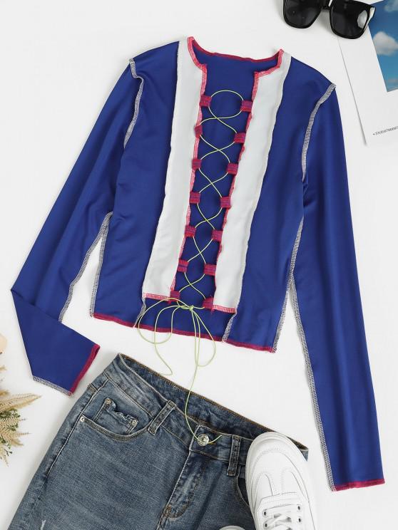 shop Lace Up Contrast Crop Top with Stitching - COBALT BLUE L